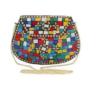 Handbags - Color Block Mosaic Detailed Brass Metal Clutch